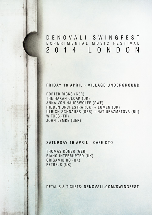 PREVIEW: Denovali Swingfest, 18th and 19th April, London