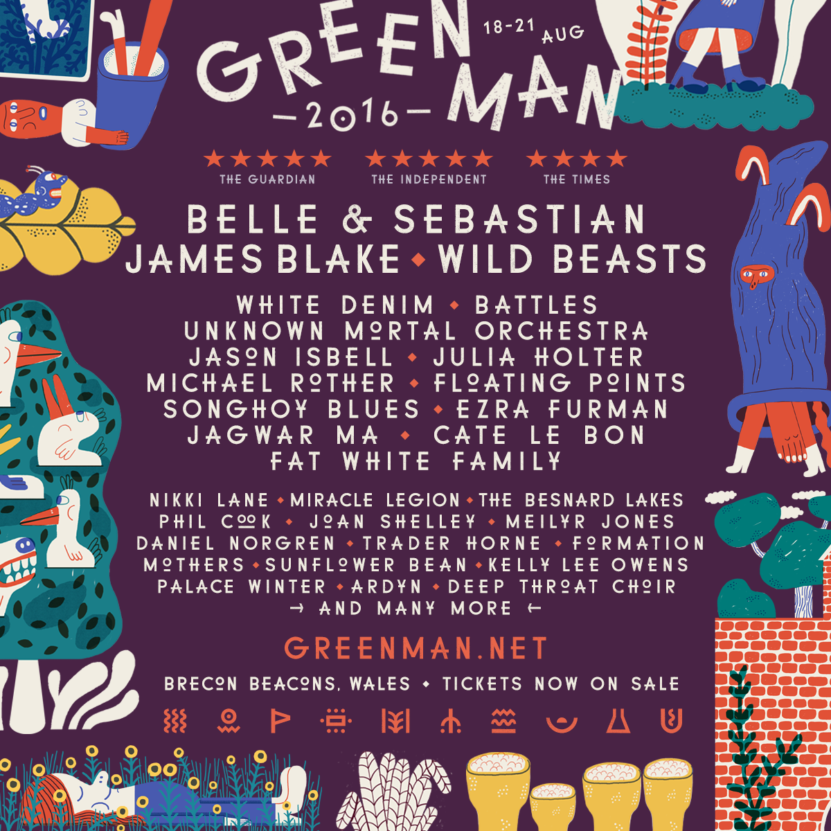 NEWS:  Belle & Sebastian, James Blake and Wild Beasts to headline Green Man 2016