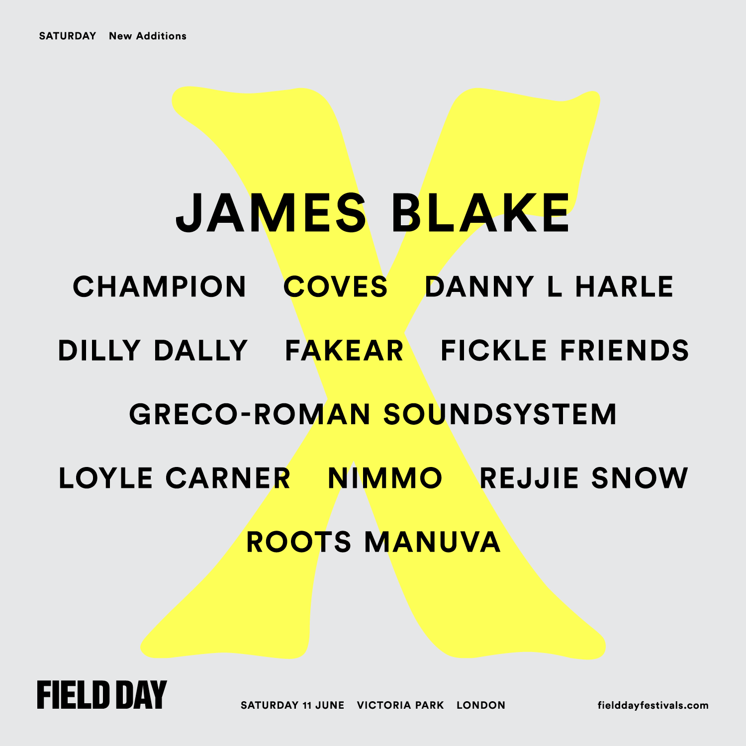 NEWS:  James Blake  and more added to Field Day Saturday line-up
